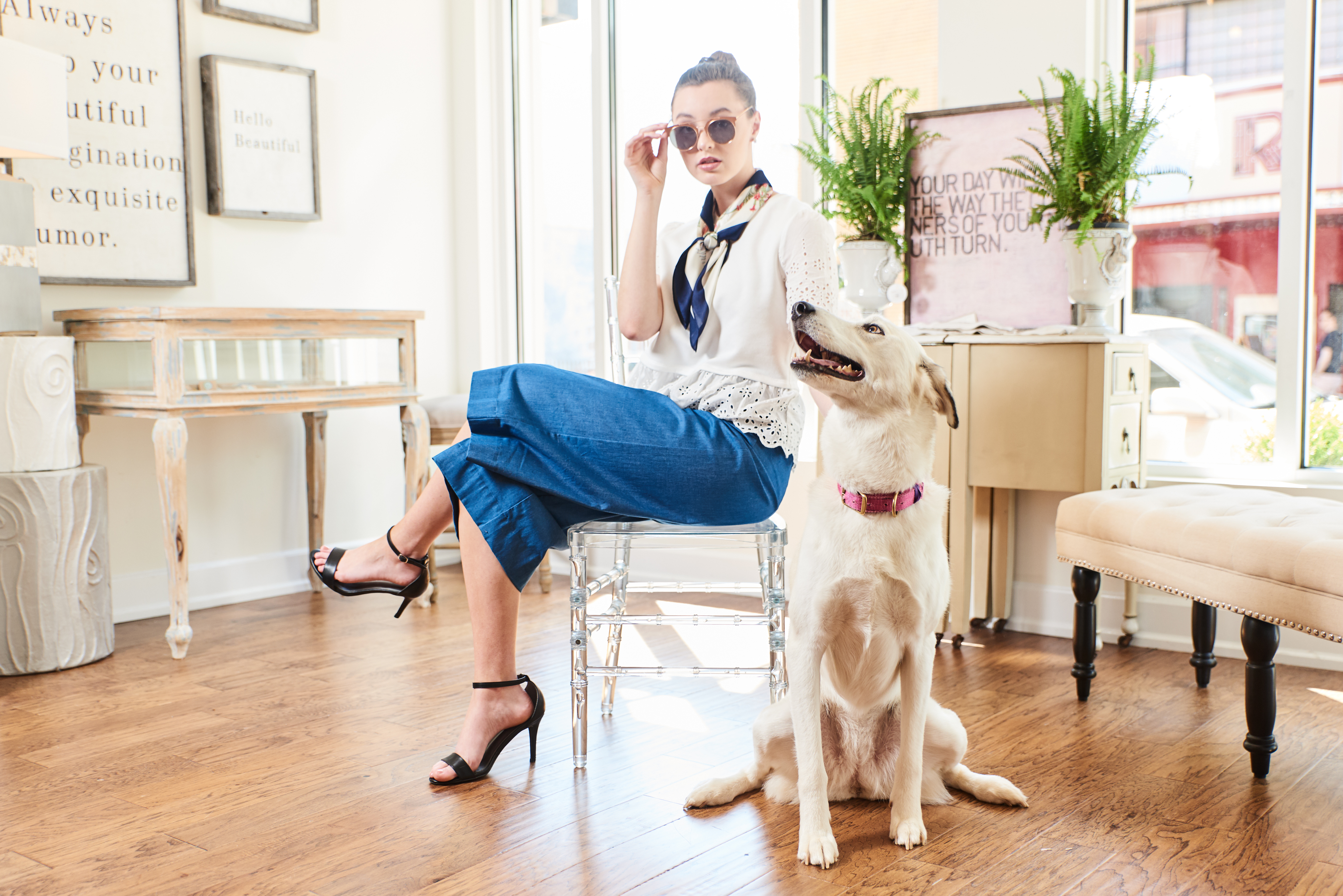 Nashville Fashion Photographer Commercial Editorial photoshoot pretty teen with dog posing for boutique
